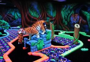 Glowgolf Rotterdam kinderfeestje, mini golf in het donker, glowgolf capelle aan den Ijssel, fluorescerende golf, 3d bril, Glowgolf kinderfeestje, golfen in de jungle